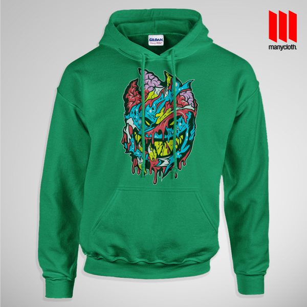 Bloody Brainie Monster From Hell Pullup Hoodie Green 600x600 Bloody Brain Monster Hoodie is the best and cheap designs clothing for gift