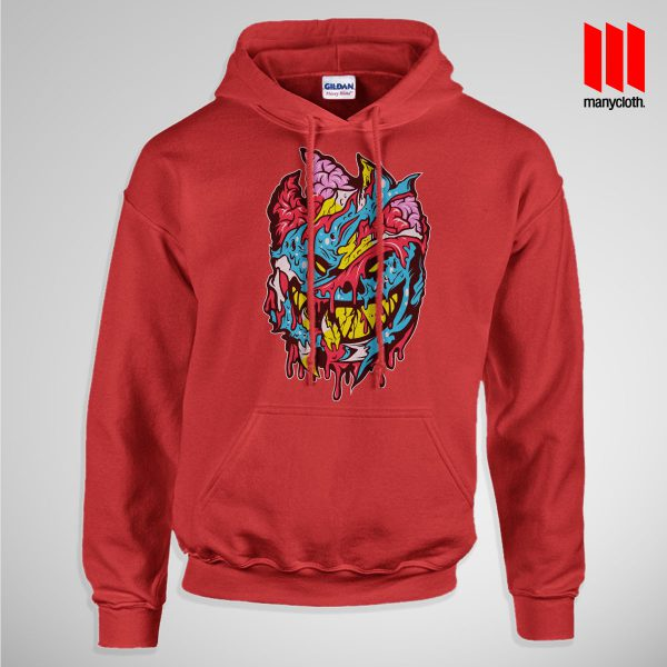 Bloody Brainie Monster From Hell Pullup Hoodie Red 600x600 Bloody Brain Monster Hoodie is the best and cheap designs clothing for gift