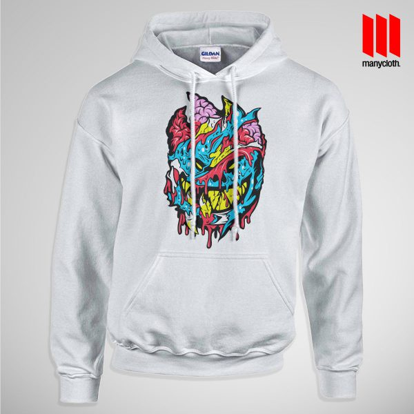 Bloody Brainie Monster From Hell Pullup Hoodie White 600x600 Bloody Brain Monster Hoodie is the best and cheap designs clothing for gift