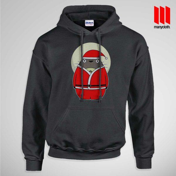 Santa Totoro Pullup Hoodie Black 600x600 Santa Totoro Hoodie is the best and cheap designs clothing for gift