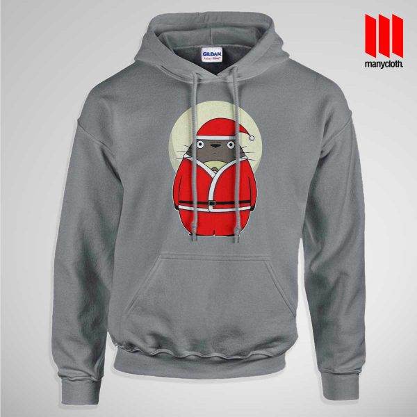 Santa Totoro Pullup Hoodie Gray 600x600 Santa Totoro Hoodie is the best and cheap designs clothing for gift