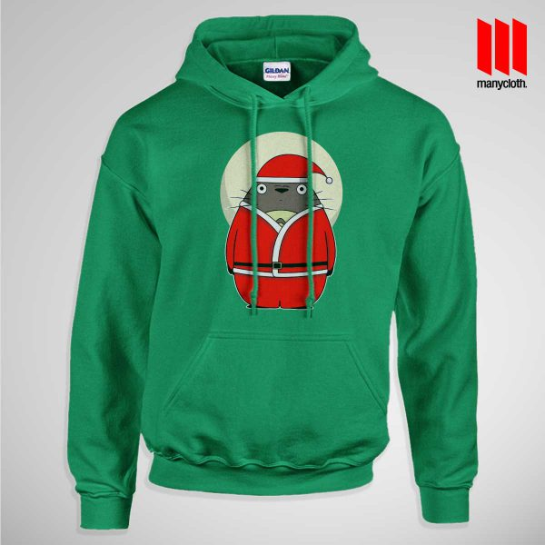 Santa Totoro Pullup Hoodie Green 600x600 Santa Totoro Hoodie is the best and cheap designs clothing for gift