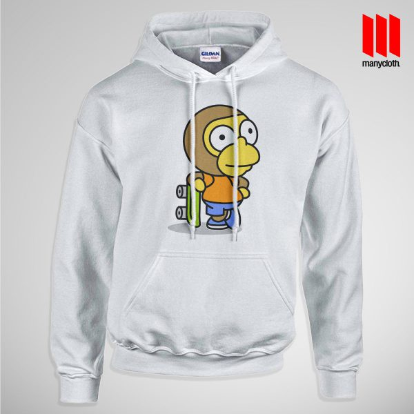 The Coolest Skater Monkey Pullup Hoodie White 600x600 Coolest Skater Monkey Hoodie is the best and cheap designs clothing for gift