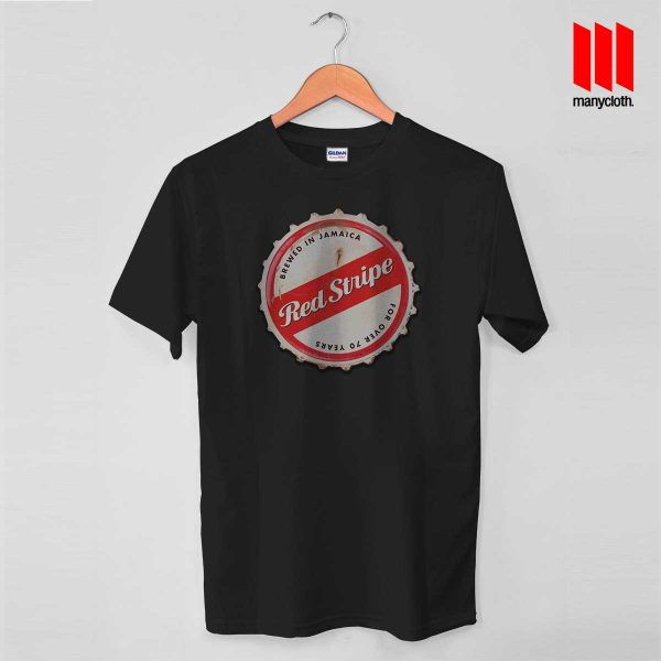 Red Stripe Bottle Cap Black T Shirt 600x600 Red Stripe Bottle Cap T Shirt