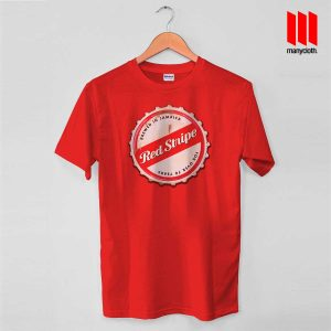 Red Stripe Bottle Cap T Shirt is the best and cheap designs clothing for gift